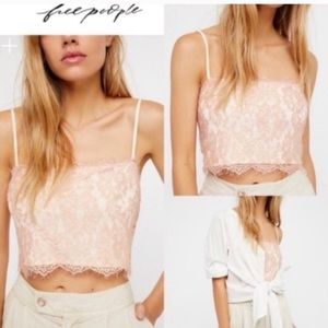 NEW Free People Lace Pink Cami Top M/L NEW